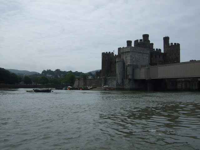 View towards Conwy Castle and the graveyard