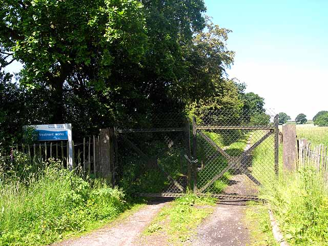Access road and gate to sewage treatment works, Soudley