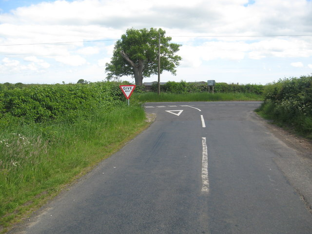 Junction of A687 and minor road near Springwells