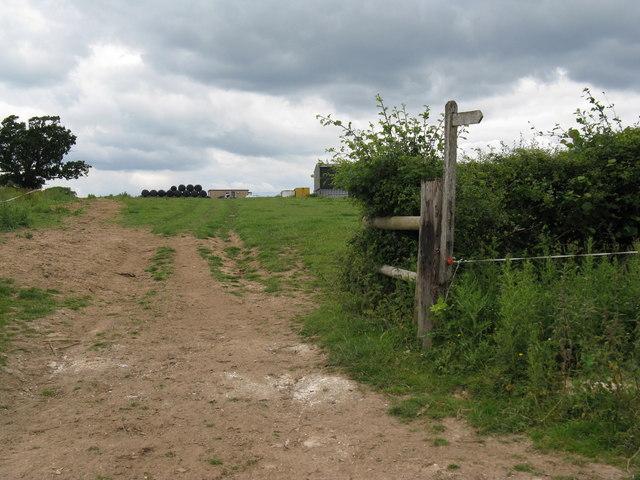 Footpath and farm track approaching Bradford's Farm