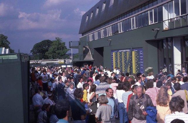 Crowd outside Centre Court at Wimbledon 1987