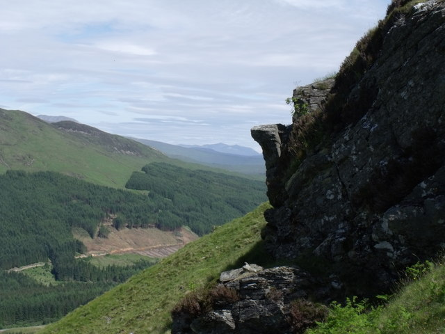 Rock outcrop on north-west slopes of Beinn Bhreac-liath near Tyndrum