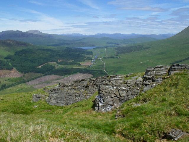 Rock outcrop on north ridge of Beinn Bhreac-liath near Tyndrum