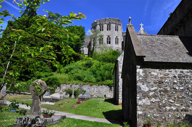 Castle, churchyard and porch - St Donat's