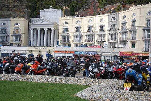 Motor bikes in front of Pelham Crescent