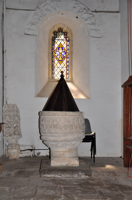 Font and window - St Donat's Church