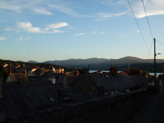 Sunset view towards Carneddau across rooftops 21 June 2010