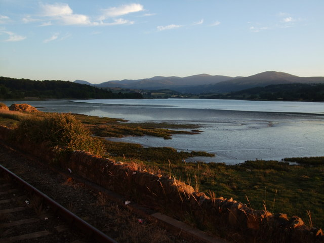 Sunset view towards Carneddau from Glan Conwy station 21 June 2010