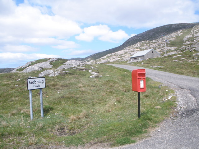B887 Road to Huisinis at junction with minor road to Gobhaig
