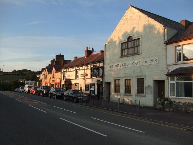 Memorial Hall and Cross Keys pub Glan Conwy near sunset 21 June 2010