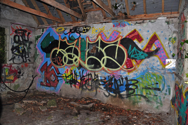 Graffiti in a shed in a wood - St Donat's