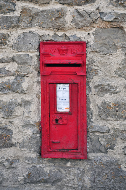 Victorian, wall-mounted postbox - St Donat's