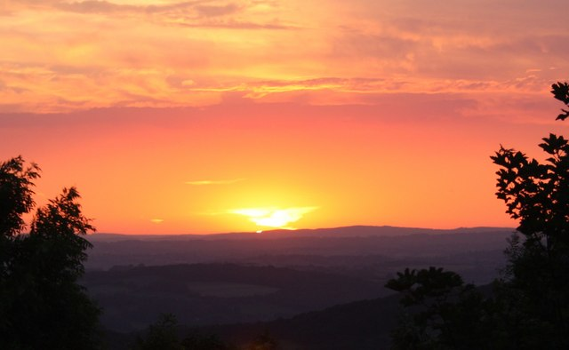 Solstice sunset over Herefordshire