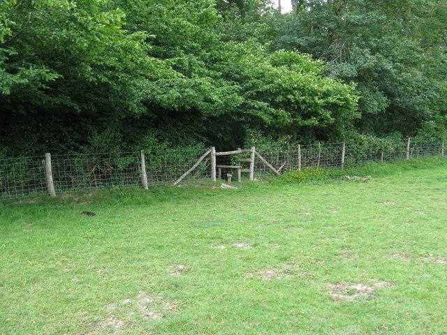 Stile at entrance into Downlands Wood