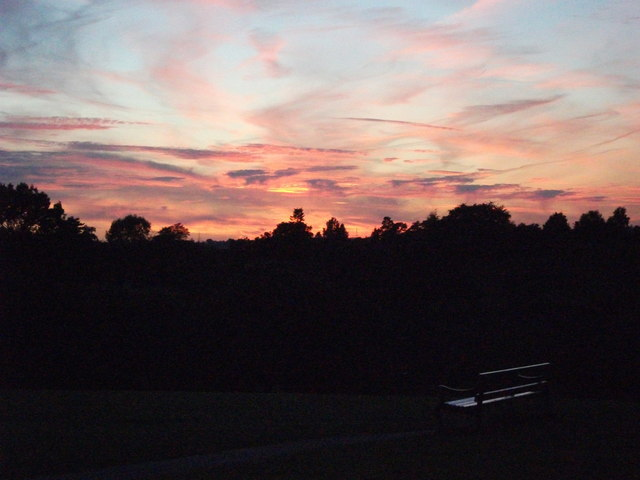 Sunset over Abbey Fields on the longest day