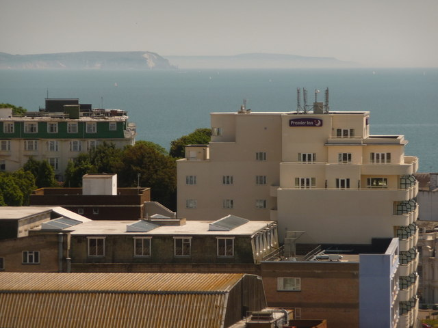 Bournemouth: view over the Premier Inn towards the Isle of Wight