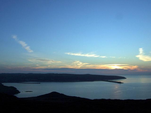 Midsummer sundown over Fishguard Bay