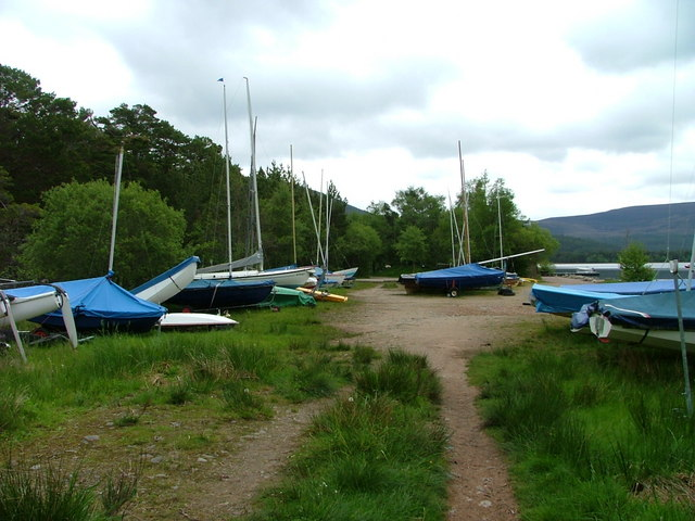 Boats on the shore of Loch Morlich