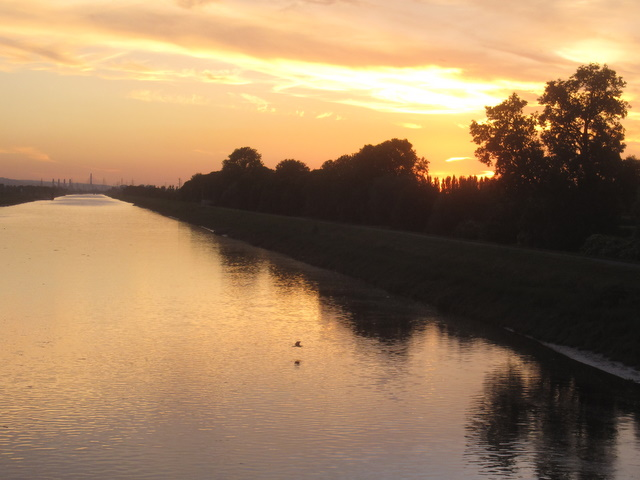 The River Dee at sunset on the longest day