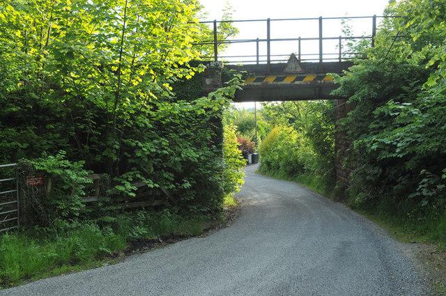 Bridge carrying the Oban line over the road near Glen Cruitten