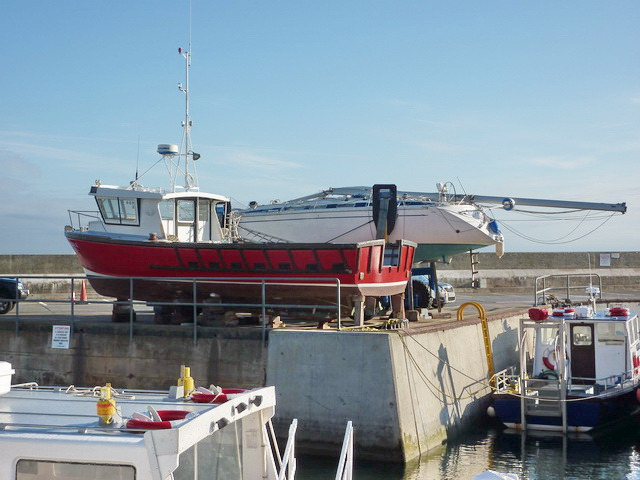 On dry land, Seahouses Harbour