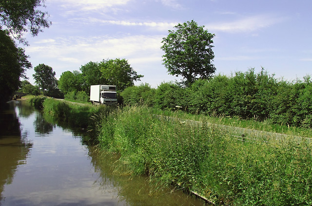 Canal and road north of Penkridge, Staffordshire
