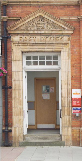 Decorative pedimented entrance door, former Head Post Office, East Grinstead