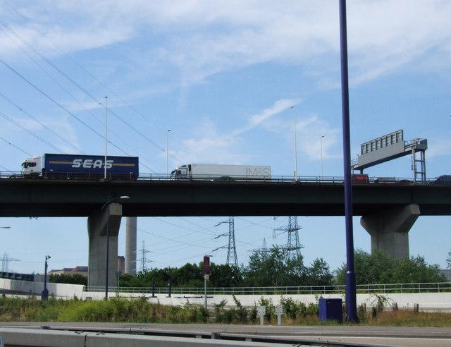 Lorries descending from the Queen Elizabeth bridge, Dartford