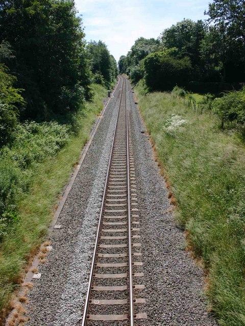 Railway line leaving Kenilworth heading for Leamington Spa