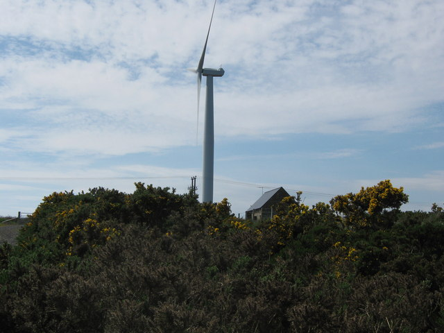 Flex Hill wind farm switchgear house and west turbine