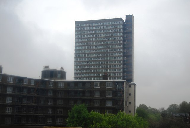 Maydew House, Abbeyfield Rd, Southwark on a very wet day
