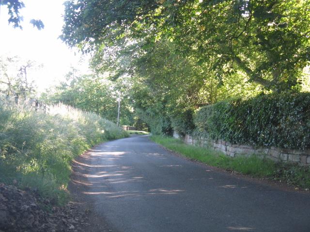 Lane south of Upton Farm crossroads
