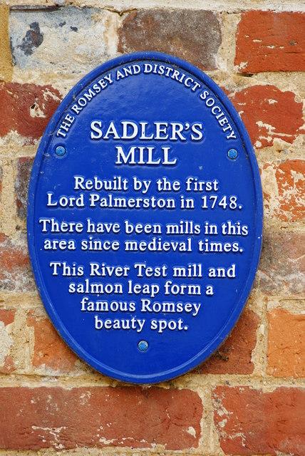 Plaque on Sadler's Mill, Romsey, Hampshire