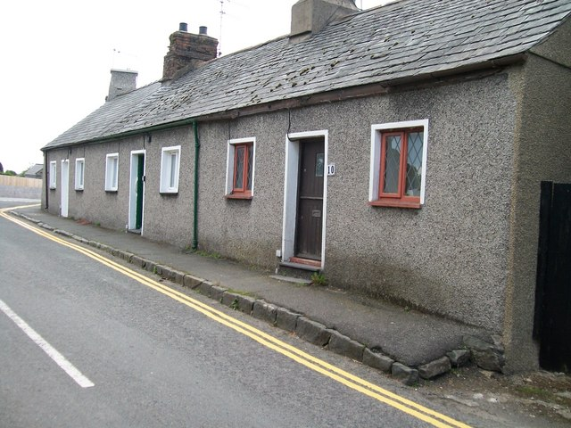 Terraced cottages on the crossroads at Efailnewydd