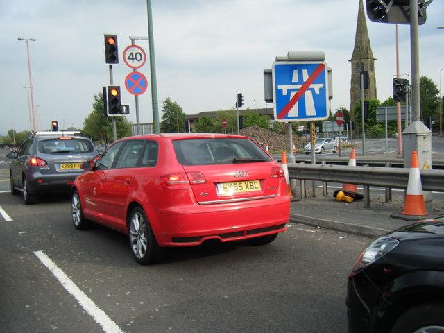 End of M602 motorway sign