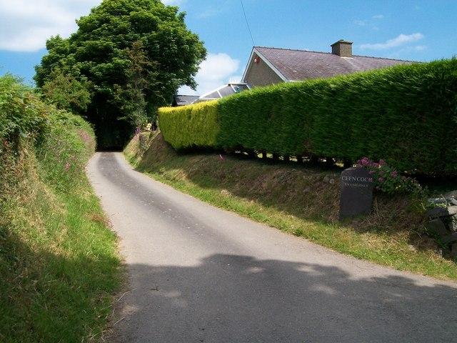 Farm road to Cefn Coch Farm