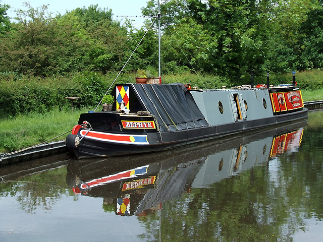 Narrowboat moored near Acton Trussell, Staffordshire