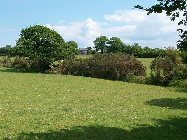 View across pastureland towards Rhos Bach cottage