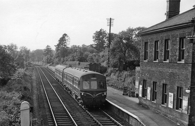 Brundall Station, with train