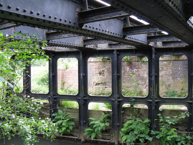 Iron bridge supports over the River Uck