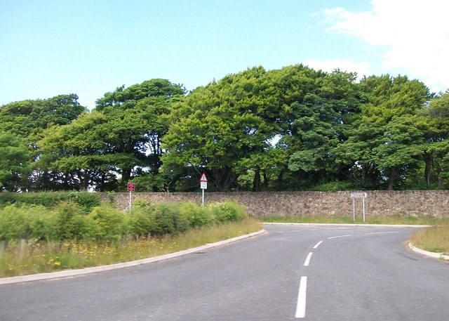Lane linking the new and old A497 near the entrance to Broom Hall