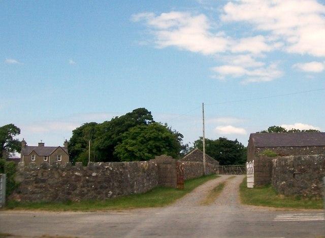 The entrance to Fferm Llymgwyn Farm from the old A497