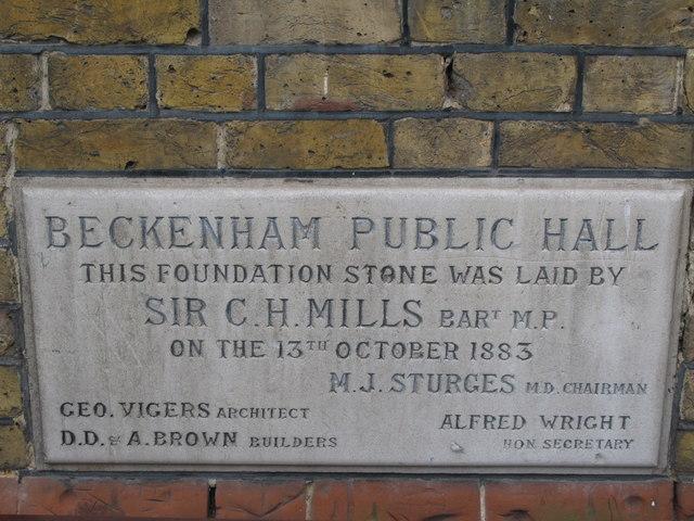 Beckenham Public Hall, Bromley Road - Foundation Stone