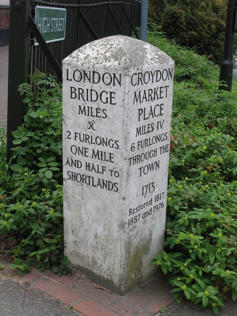 Milestone, High Street / Bromley Road
