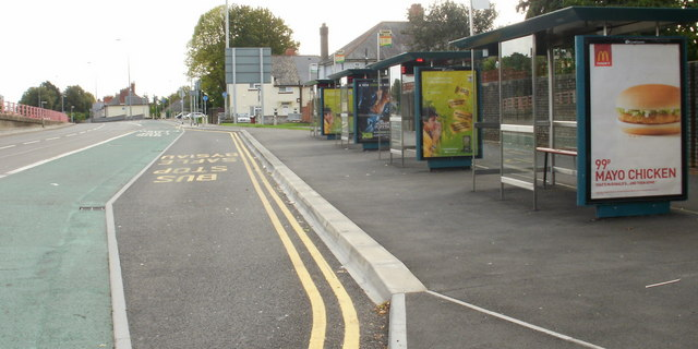 Cardiff : North Road bus stop adjacent to Gabalfa Interchange