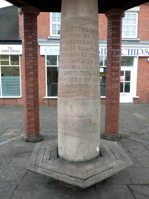 Central pillar in the shelter, Rocester