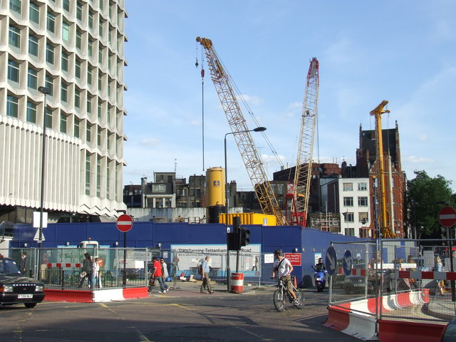 Crossrail works at Tottenham Court Road