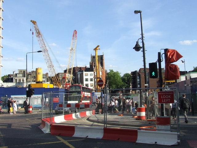 Crossrail works at Tottenham Court Road