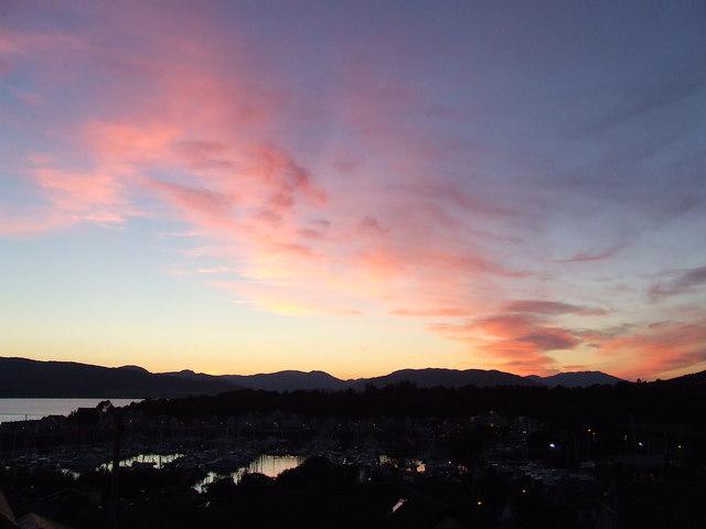 Sunset over Kip Marina