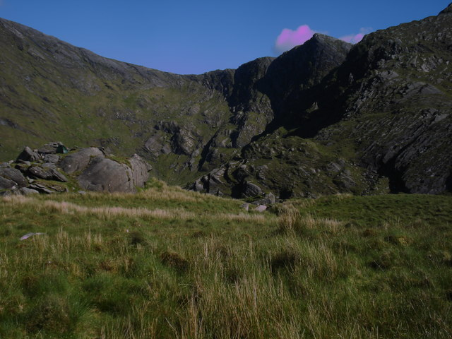 Isolated rocky/grassy hillock in boggy terrain surrounded by mountains